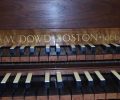 Double Manual French Harpsichord by William Dowd, nameboard