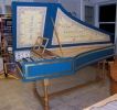 Flemish Double Manual Harpsichord by Anne Acker, sm side view