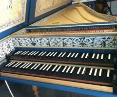 Flemish Double Manual Harpsichord by Anne Acker, keyboard