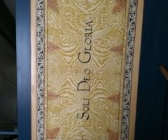 Flemish Double Manual Harpsichord by Anne Acker, lidflap motto