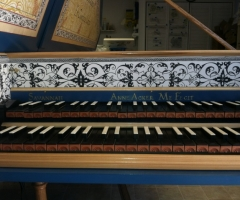 Flemish Double Manual Harpsichord by Anne Acker, nameboard