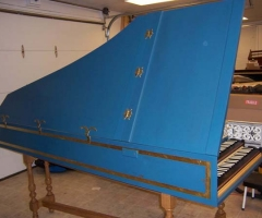 Flemish Double Manual Harpsichord by Anne Acker, sm spine side