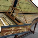 Side view of Double Manual Flemish Harpsichord by Robert Hicks 1988/2017