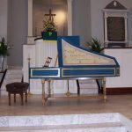 Image of Keyboard of Flemish Double Manual Harpsichord by Anne Acker, 2009 in a church.