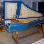 Image, Side View of Flemish Double Manual Harpsichord by Anne Acker, 2009
