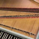 Image of a single manual harpsichord strings and keys